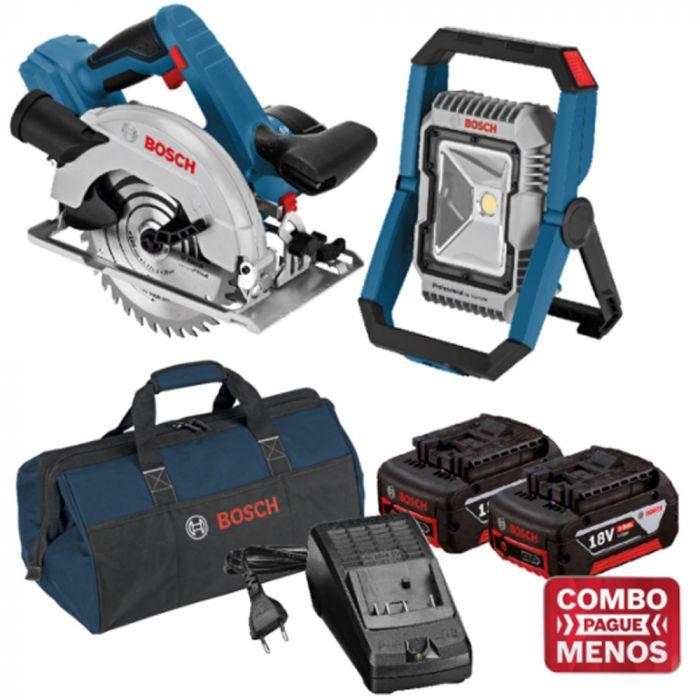 Combo Serra Circular + Lanterna + Kit Baterias + Bolsa - Bosch