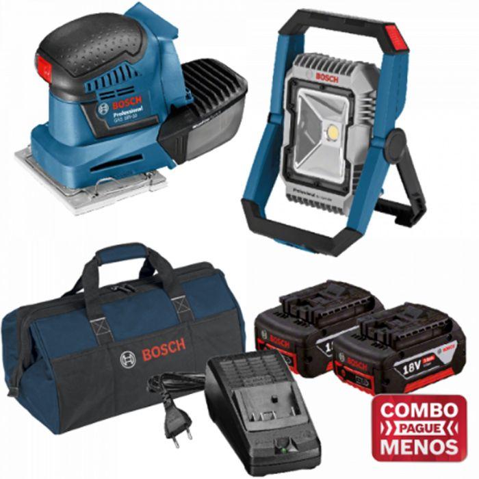 Combo Lixadeira De Palma + Lanterna+ Kit Baterias + Bolsa - Bosch