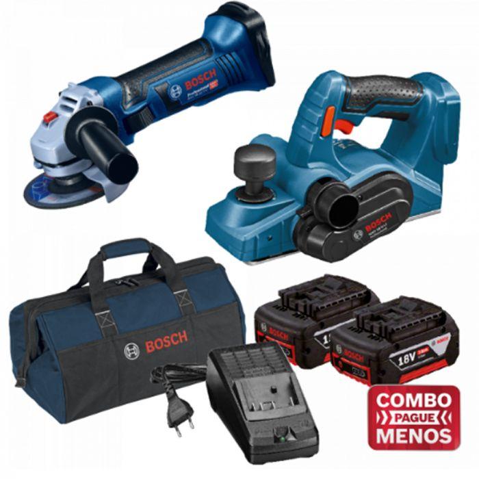 Combo Esmerilhadeira + Plaina + Kit Baterias + Bolsa - Bosch