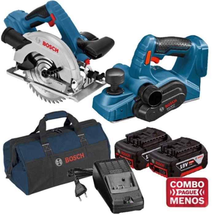 Combo Serra Circular + Plaina + Kit Baterias + Bolsa - Bosch