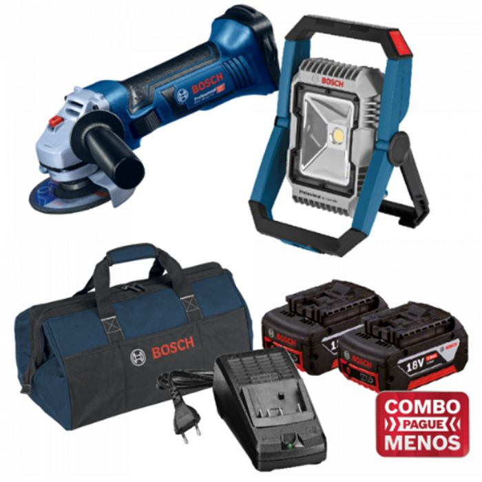 Combo Esmerilhadeira + Lanterna + Kit Baterias + Bolsa - Bosch