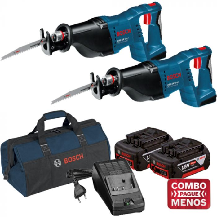 Combo 2 Serras Sabre + Kit Baterias + Bolsa - Bosch